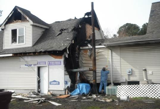 A home that needs fire damage repair in Hampton Roads, VA